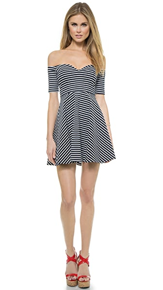 RED Valentino Off Shoulder Stripe Dress