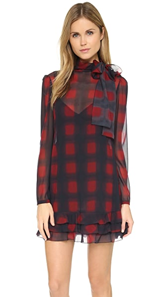 RED Valentino Tie Neck Long Sleeve Dress