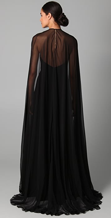 Reem Acra Halter Gown with Chiffon Cape