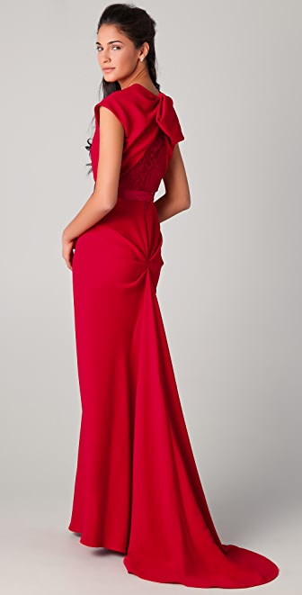 Reem Acra Cap Sleeve Gown with Lace Back Detail