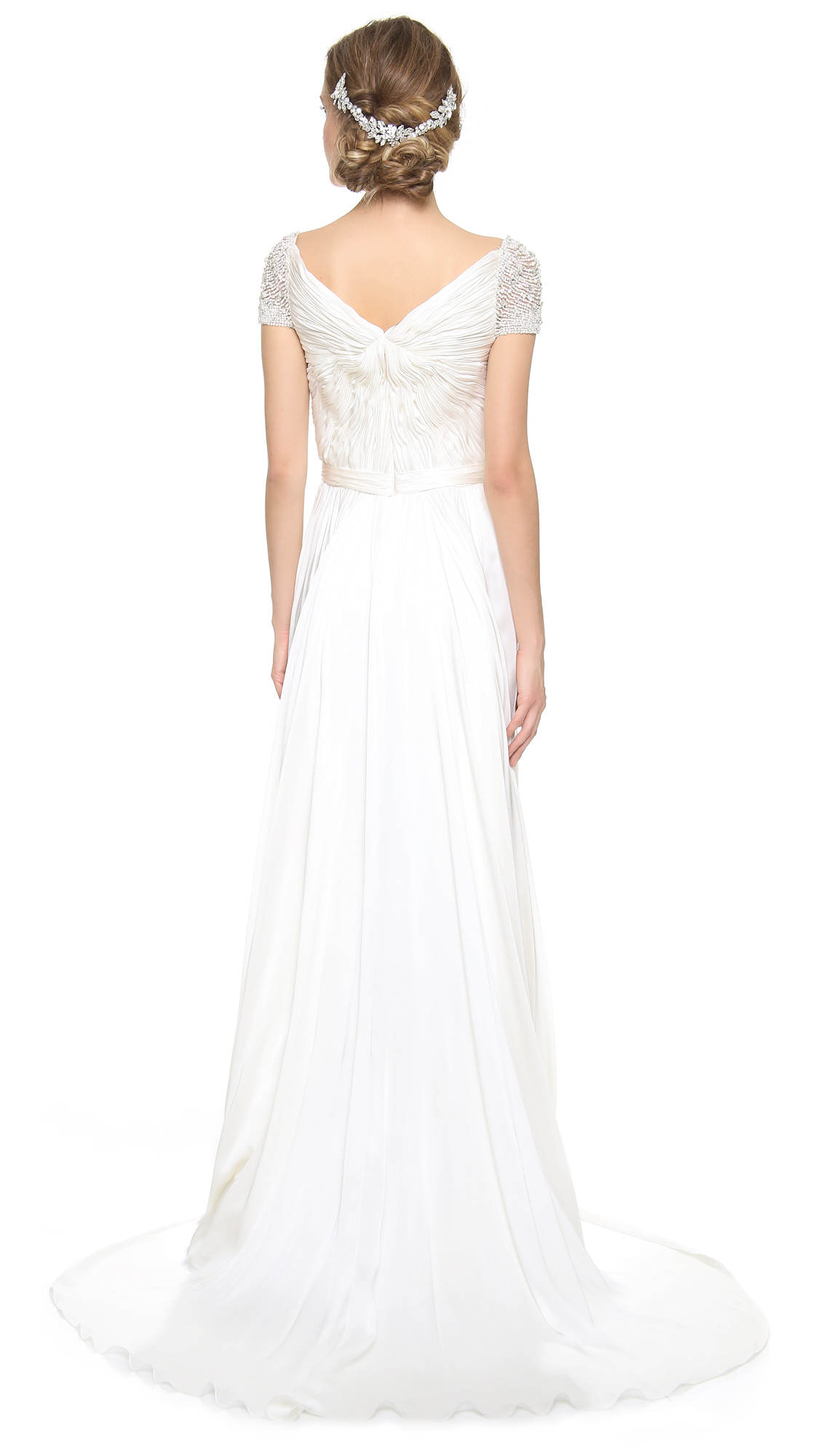 Reem Acra Twist Front Gown with Jeweled Sleeves | SHOPBOP
