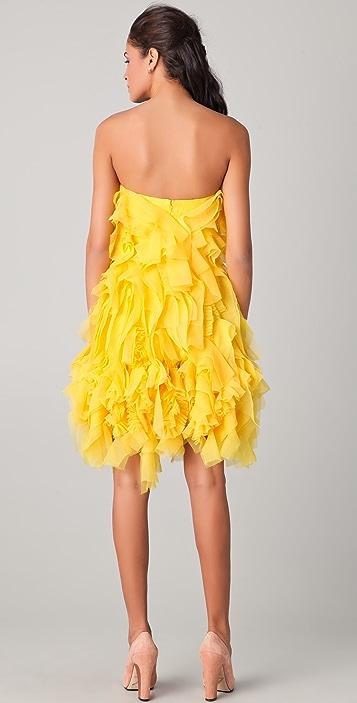 Reem Acra Ruffled Strapless Cocktail Dress