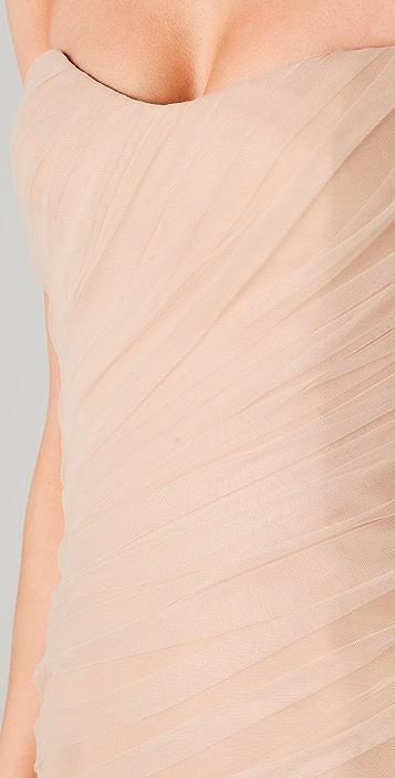 Reem Acra Diagonal Tulle Strapless Mini Dress