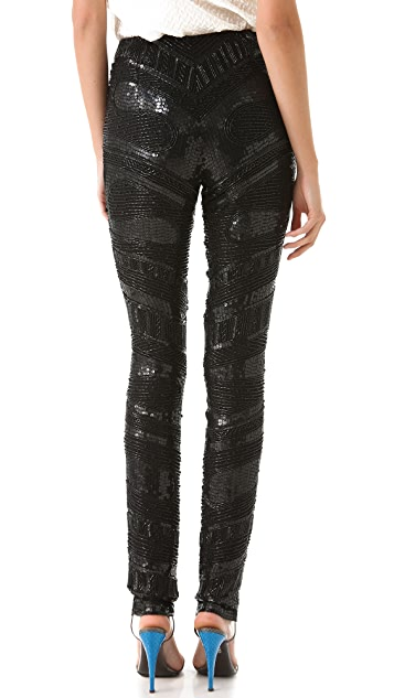 Reem Acra Embroidered Beaded Pants