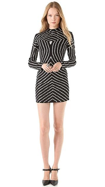 Reem Acra Geometric Beaded Dress