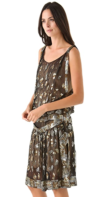 Reem Acra Silk Chiffon Flapper Dress