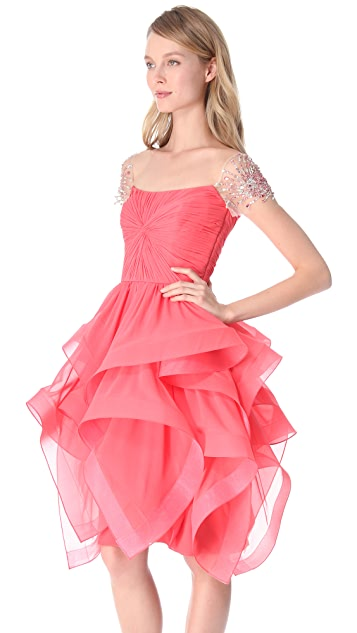 Reem Acra Ruffled Organza Dress