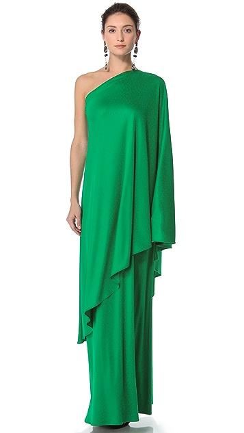 Reem Acra Silk One Shoulder Gown