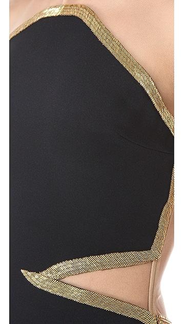 Reem Acra Gold Beaded Silk Gown