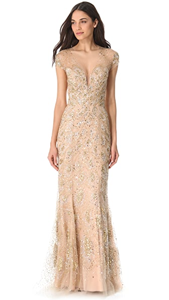 Reem Acra Sequined Tulle Gown