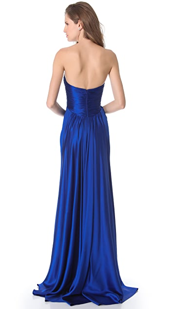 Reem Acra Strapless Gown with Crystal Neckline