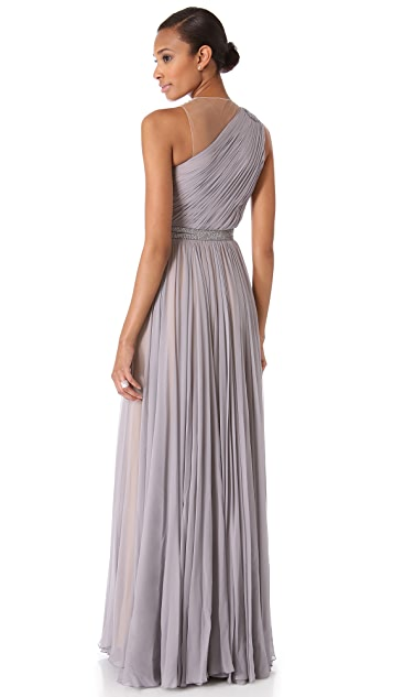 Reem Acra One Shoulder Draped Gown