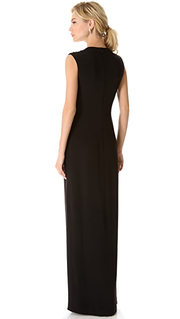 Reem Acra Sleeveless Plunge Neck Gown