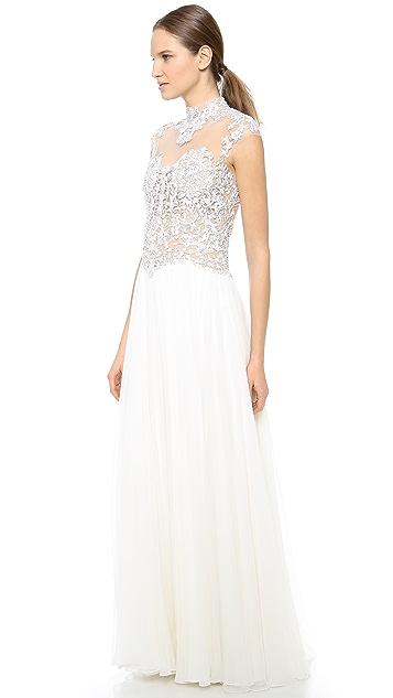 Reem Acra Full Skirt Gown with Beaded Bodice