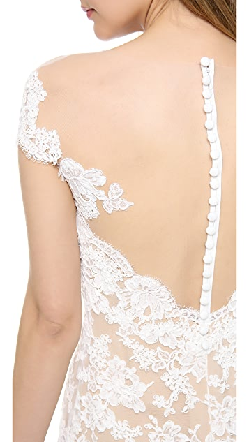 Reem Acra Embroidered Lace Drop Waist Gown