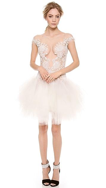Reem Acra Beaded Cap Sleeve Dress
