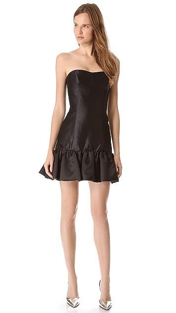 Reem Acra Ruffle Hem Strapless Dress
