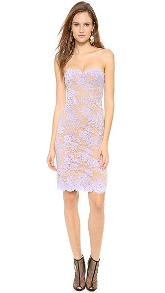 Reem Acra Lace Strapless Dress