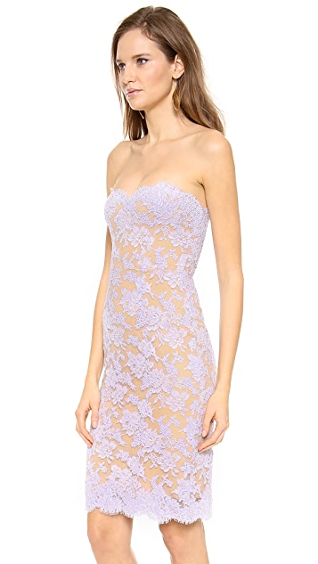 Reem Acra Lace Strapless Dress