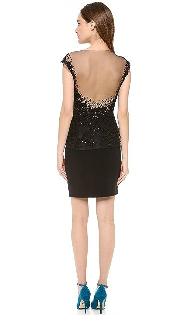 Reem Acra Embroidered Peplum Dress