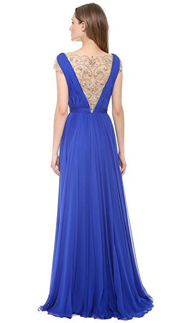 Reem Acra Silk Chiffon Illusion V Neck Gown
