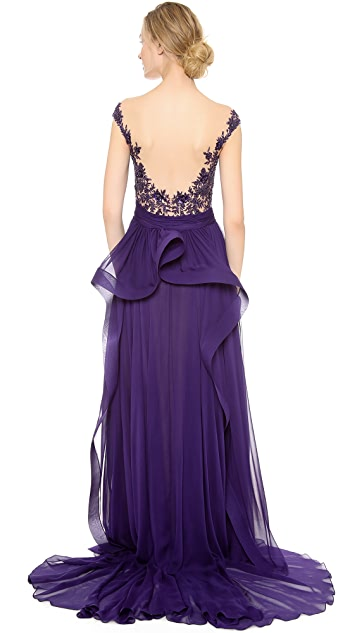 Reem Acra Embroidered Gown with Cascade Overskirt