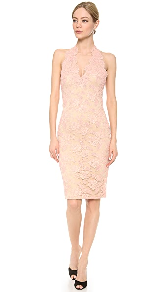 Reem Acra Re-embroidered Lace Plunge Front Halter Dress