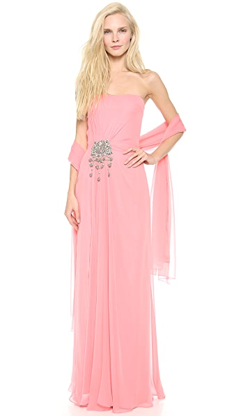 Reem Acra Strapless Column Dress with Scarf