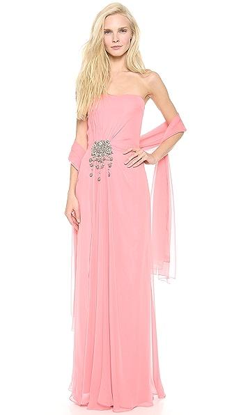 Reem Acra Strapless Column Dress with Scarf