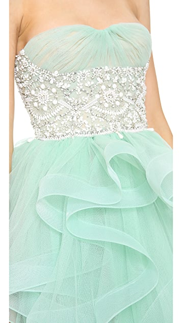 Reem Acra Embroidered Tulle Strapless Dress