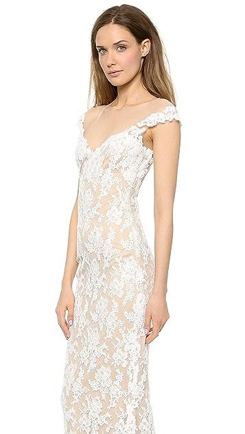 Reem Acra Lace Low Back Gown