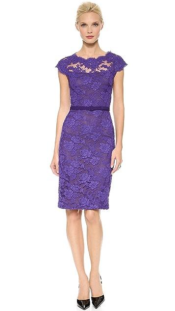 Reem Acra Bateau Lace Sheath Dress