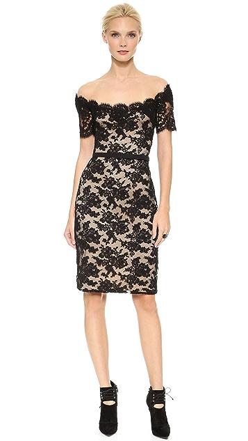 Reem Acra Off Shoulder Lace Sheath Dress