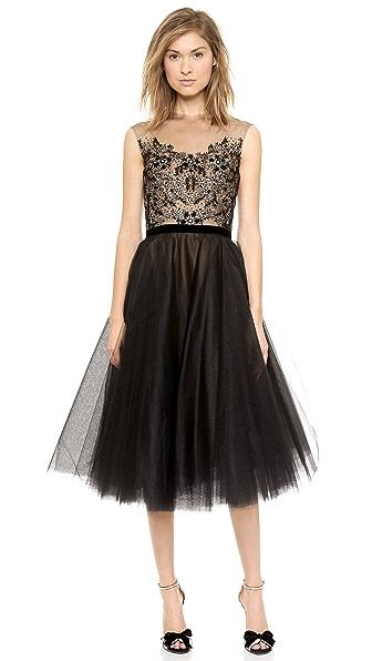 Reem Acra Embroidered Illusion Cap Sleeve Dress