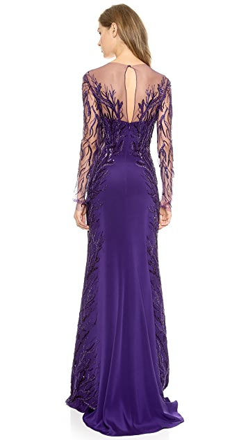 Reem Acra Long Sleeve Embroidered Illusion Column Gown