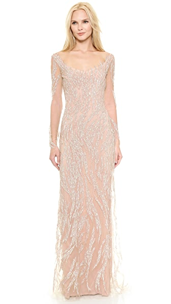 Reem Acra Embroidered Illusion Swirl Gown