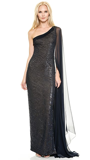 Reem Acra Embroidered One Shoulder Gown with Chiffon Cape Sleeve