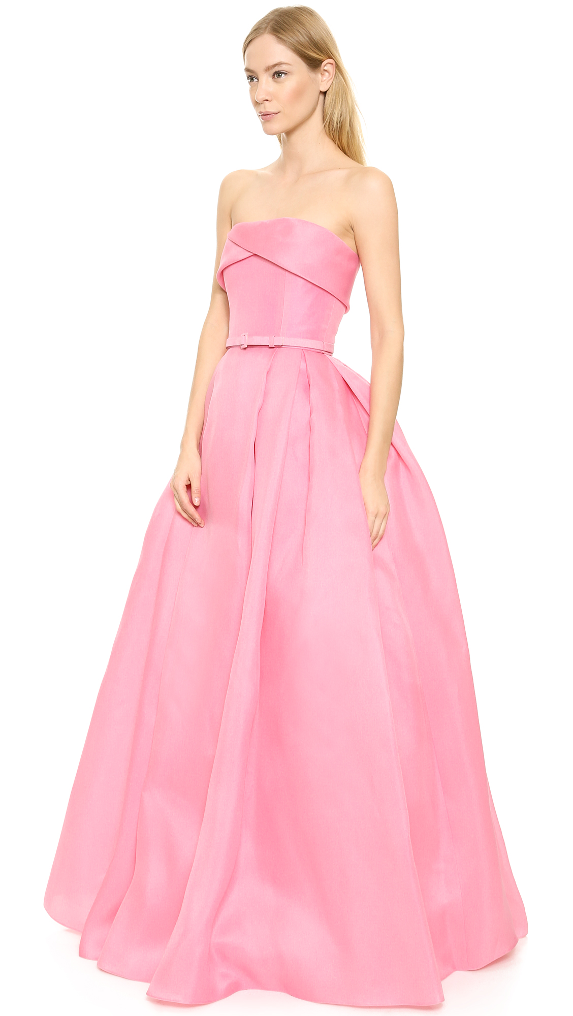 46752ada17 Reem Acra Pleated Ball Gown with Belt | SHOPBOP