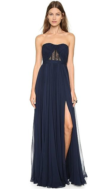 Reem Acra Silk Chiffon Full Skirt Gown