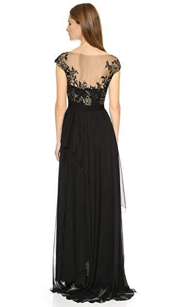 Reem Acra Lace Gown with Chiffon Skirt