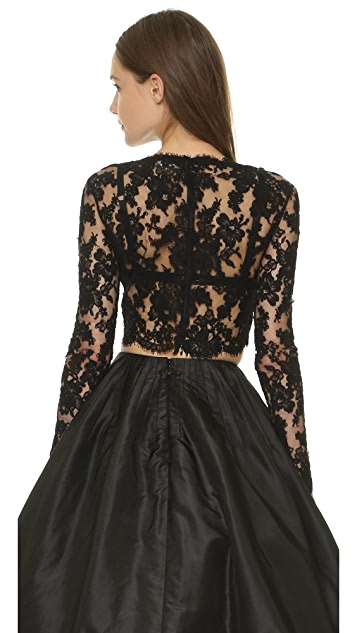 Reem Acra Long Sleeve Re-Embroidered Lace Top