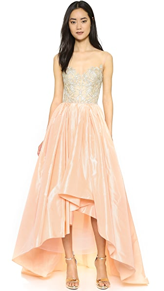 Reem Acra Taffeta High-Low Gown