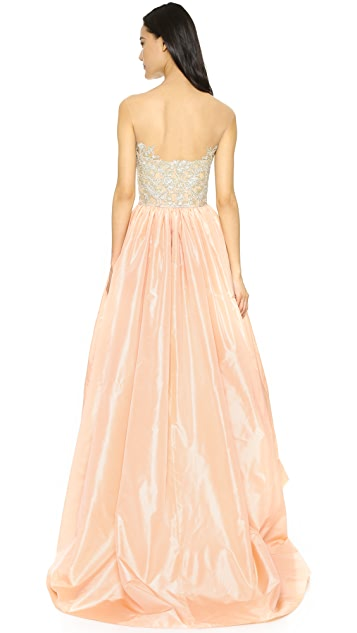 Reem Acra Taffeta High-Low Gown