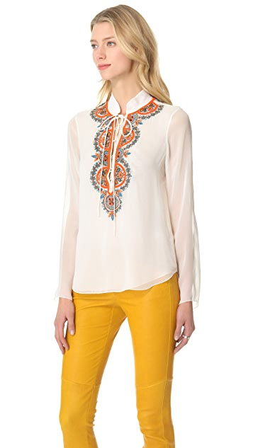 Renzo + Kai Lace Up Embroidered Blouse