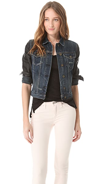 Rag & Bone/JEAN Jean Jacket with Leather Sleeves