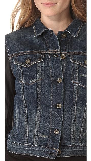 Rag & Bone/JEAN Jean Jacket with Leather Sleeves