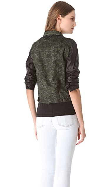Rag & Bone/JEAN The Camo Jean Jacket with Leather Sleeves