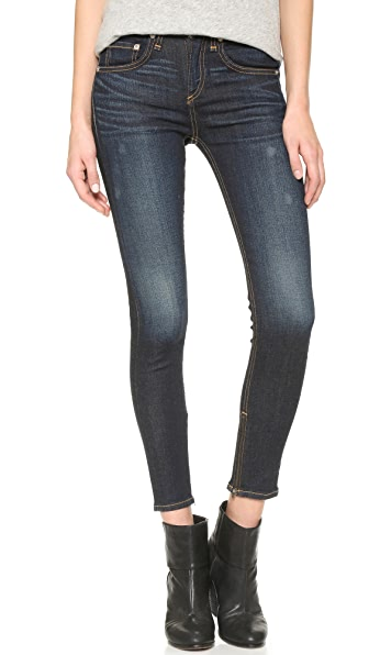 Rag & Bone/JEAN High Rise Skinny Zipper Crop Jeans - Kensington