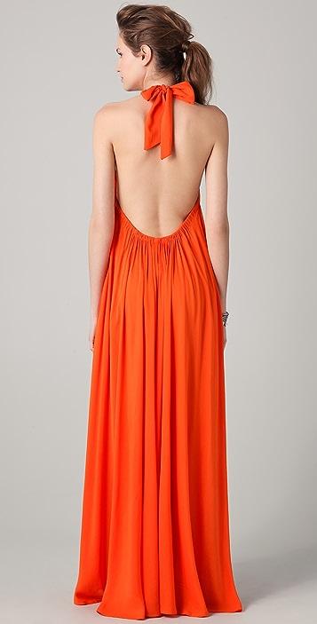Riller & Fount India Gathered Halter Maxi Dress