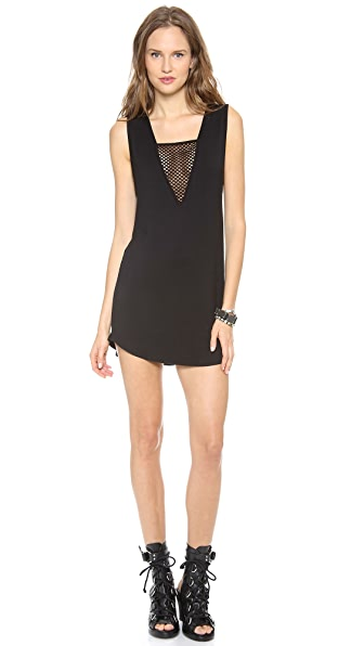 Riller & Fount Vince V-Neck Mini Dress with Fishnet Insert